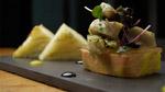 Terrine de foie gras de canard, salade d'artichauts au ginger ale et purée d'oranges