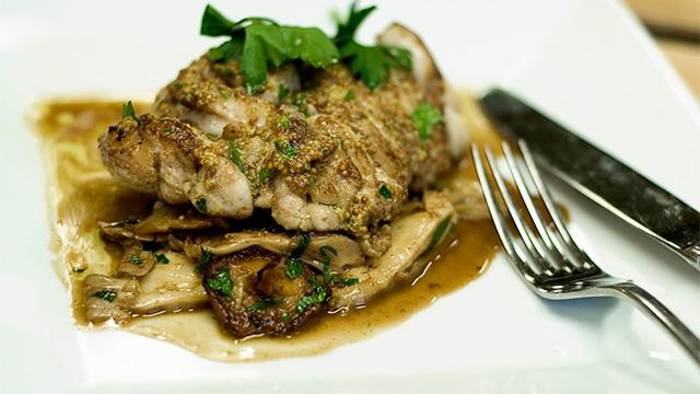 Ris de veau à la moutarde de Meaux, poêlée de champignons sauvages