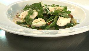 Salade de haricots verts, Mozzarella di Bufala, citron et amandes