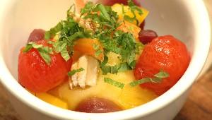 Sorbet à l'orange, légumes à la vanille