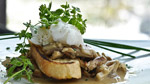 Tartine de champignons, œuf de caille et huile de truffe