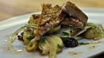 Maquereau fumé mariné, salade de pommes de terre rattes, olives et fenouil