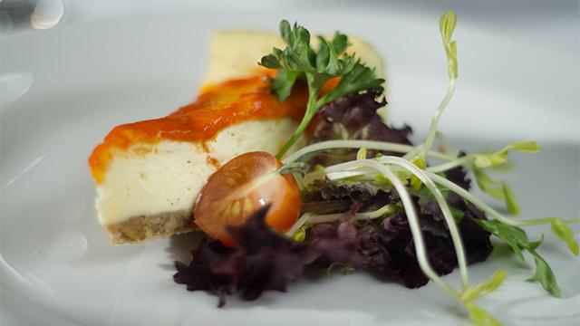 Cheese-cake de pommes de terre en croûte de canard confit