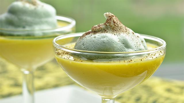 Flan à la vanille et mousse au porto