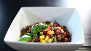 Salade de haricots rouges et canard confit