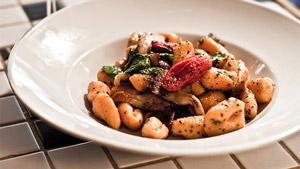 Gnocchis de patates sucrées, champignons et huile d'argan