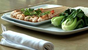 Crevettes à la vapeur aux graines de fenouil et sauce soya sucrée