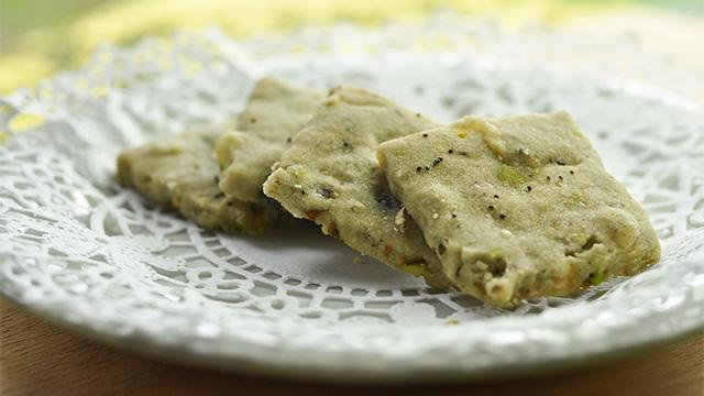Crackers pistache-orange et fromage bleu